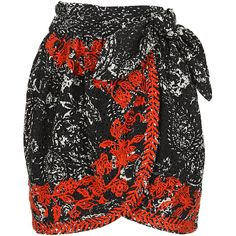 Isabel Marant printed and embroidered open cotton Nathael wrap skirt ($465) ❤ liked on Polyvore