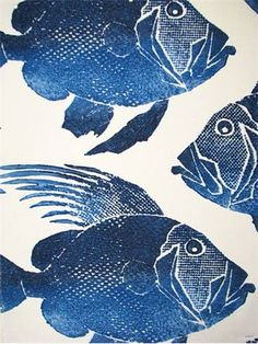 "ODL Fish Navy Indoor - Outdoor Fish print. 100% poly heavy slubby basket fabric. Mildew and Fade resistant. Repeat; V 13.5"" - H 27"". 54"" wide. Made in U.S.A."