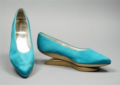 Pair of Woman's Shoes. United States, 1964. Maker: Herbert Levine (United States); Beth Levine (United States, 20th century). Silk satin, gilded wood, leather, 10 x 2 1/2 x 4 in. (25.4 x 6.35 x 10.16 cm) each. Gift of Mr. L. R. Smithline