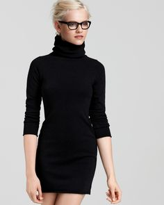 Aqua Cashmere Turtleneck Dress - Long Sleeve - Dresses - Apparel - Contemporary - Bloomingdale's