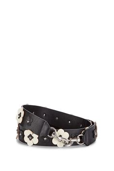 Rebecca Minkoff Floral Applique Guitar Strap by: Rebecca Minkoff @Rebecca Minkoff US Clip this leather guitar strap onto your bag and feel all the flower power. Signature dog clip hardware and intricately cut buds mashup for a modern-meets-throwback look. Into it