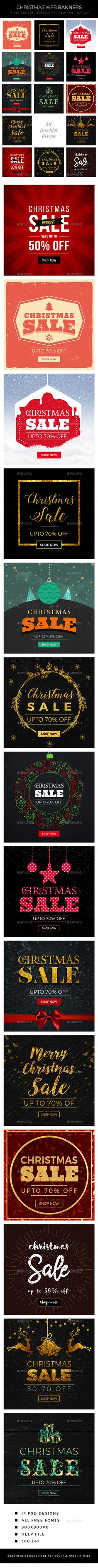 Christmas Sale Banners — Photoshop PSD #shop #cyber monday • Download ➝ https://graphicriver.net/item/christmas-sale-banners/18962189?ref=pxcr