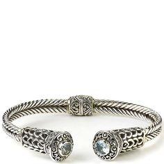 SAMUEL BEHNAM  silver bangle with blue topaz