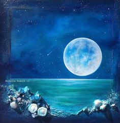 Moon Reflections One of a kind original painting. 16x16in