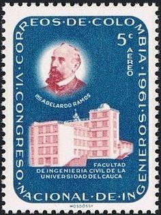 Bélyeg: Abelardo Ramos and Engineering School, Cauca (Kolumbia) (75th anniv. Of the founding of the Colombian Soc. of Enginee) Mi:CO 1015,Sn:CO C429,Yt:CO PA411