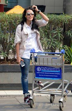 031c8cb856 Former Miss India Neha Dhupia at Mumbai airport.  Bollywood  Fashion  Style