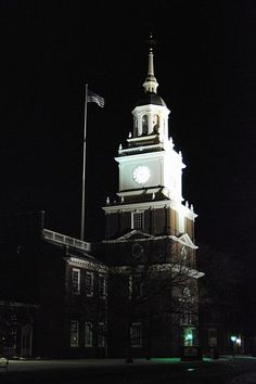 The Henry Ford = Greenfield Village/Museum. Photo of Clock Tower at Night