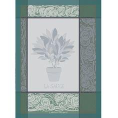 Torchon fantaisie Garnier-Thiebaut - Modèle : Sauge - Torchon en coton - Coloris : bleu et gris