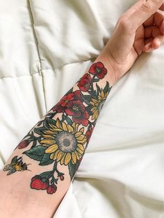 Floral tattoo done by Sam Fortney at American Crow Tattoo in Gahanna Ohio