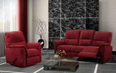 Order your sofa and recliner in a red to get this awesome look!