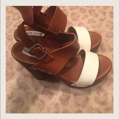 Steve Madden Strappy Wooden Heel Sandals So cute✨! Love these. Worn only once! Only one small scuff on the inner right shoe on the white band. Price adjusted for this making it a complete bargain! Steve Madden Shoes Heels