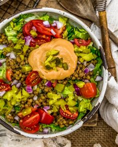This indulgent and healthy Vegan Big Mac Salad is sure to bring all your dreams of fast food deliciousness without any guilt or sacrificing of the flavor! #vegan #oilfree #glutenfree #plantbased | monkeyandmekitchenadventures.com