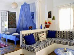 I love this Greece-inspired bedroom.