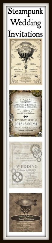 Steampunk Wedding Invitations.  Unique Victorian steampunk designs for a steampunk theme wedding. #weddinginvitations