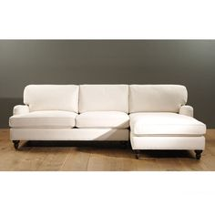 Eton 2-Piece Sectional with Left Arm Apartment Sofa and Right Arm Chaise in Piper Mineral.