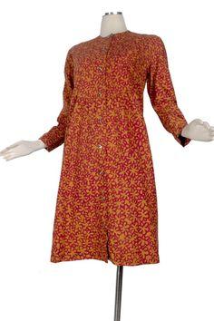 Vintage 60s Marimekko Smock Dress Red Yellow Design Research 1965 Abstract L XL #Marimekko