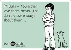 Pit Bulls - You either love them or you just don't know enough about them. #ecards