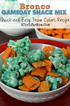 Superbowl gameday recipe, BRONCO fans team colors snack mix. Quick and easy recipe