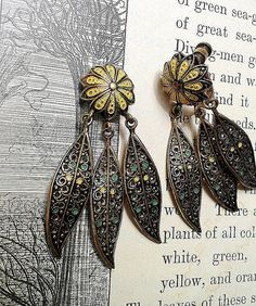 Authentic Vintage Bronze Painted Floral Filigree Hanging Ear Gauges (Up to 00g) or Earrings on Etsy, $30.00