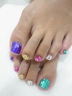 Spring summer nail art. Glitter, pedicure