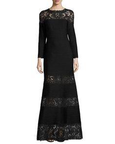 TQFXV Tadashi Shoji Long-Sleeve Pintucked Lace-Trim Gown, Black