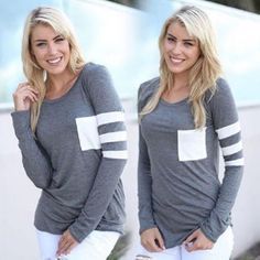 New Fashion Women's Ladies Casual Loose Tops Long Sleeve T-Shirt Blouse Cotton