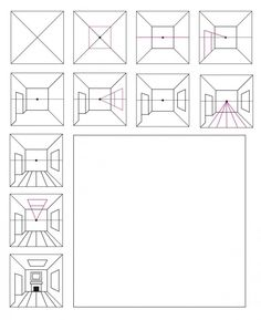 One Point Perspective Room, 1 Point Perspective Drawing, Perspective Art, Drawing Interior, Interior Design Sketches, Arts Integration, Art Lessons Elementary, Le Point, Teaching Art