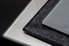 Satin sparkle splashback sample by CreoGlass Design. View more glass kitchen splashbacks and non-scratch worktops on www.creoglass.co.uk. #kitchen #modernkitchen