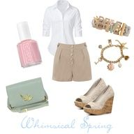 This outfit is very spring time! White button down, tan shorts, white lace wedge heels, light blue bag, whimsical Disney couture believe bracelet, pink flower charm bracelet, and cute pink polish.