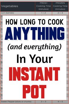 How Long To Cook Anything (and everything) In Your Instant Pot. Instant Pot co… How Long To Cook Anything (and everything) In Your Instant Pot. Instant Pot cooking times for vegetables, meats, rice, beans and so many more Instant Pot… Continue Reading → Power Pressure Cooker, Instant Pot Pressure Cooker, Pressure Cooker Recipes, Pressure Cooking, Slow Cooker, Roast In Electric Pressure Cooker, Pressure Cooker Times, Cooking A Roast, Fun Cooking