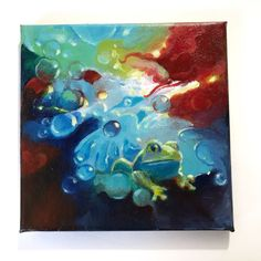 Original painting frog elemental water fire wind earth art listed by artist USA #Realism