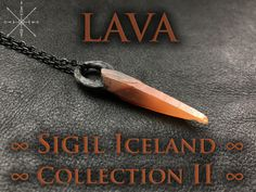 SIGIL leather goods and raw mineral jewelry by Seattle-based designer, Anita Arora. Iceland, Lava, Arrow Necklace, Quartz, Pendant, Red, Collection, Ice Land, Hang Tags