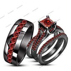 5.20CT Red Garnet 14k Black Gold Finish His & Her 4pcs Wedding Trio Ring Set…