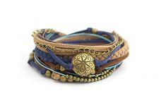 Wrap Bracelet, Boho Bracelet , Brown  Blue Boho bracelet, suede, double wrap, boho chic