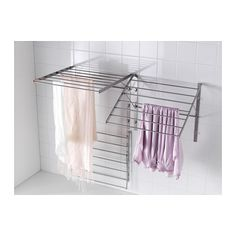 For laundry room IKEA GRUNDTAL drying rack, wall Adjustable to 3 positions. Simple to fold up when not in use. Room Remodeling, Ikea Laundry, Laundry, Laundry Room Inspiration, Ikea Drying Rack, Laundry In Bathroom, Rack Design, Drying Clothes, Ikea