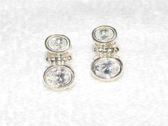 Stunning Sterling Silver double white sapphire earrings JA19