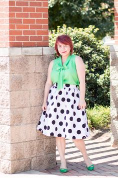 polka-dot-skirt, kelly green blow blouse, summer style, fashion over 40…