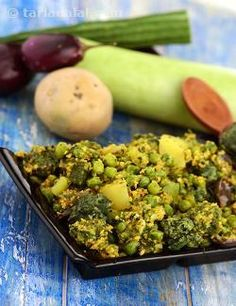 A sumptuous preparation of five types of vegetables cooked in a gujarati style coriander and coconut masala. The combination of vegetables with methi muthia makes this dish comparable to oondhiya. Once again, note that we prefer to cook the muthias this way rather than deep-fry them, in an attempt to make the recipes healthier.
