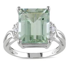 Miadora Sterling Silver Green Amethyst and White Topaz Cocktail Ring | Overstock™ Shopping - Top Rated Miadora Gemstone Rings