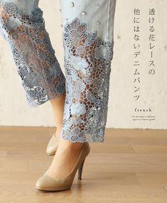 Diy Clothes Refashion Jeans Lace 54 Ideas For 2019 Denim Fashion, Fashion Pants, Trendy Fashion, Fashion Dresses, Fall Fashion, Designer Wear, Designer Dresses, Jean Diy, Salwar Pants