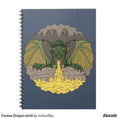 Cavern Dragon 2016 Spiral Notebook.  Sunday Steal: 50% Off Post-it® Notes, Notebooks & More!  USE CODE: ZSUNSTEAL185  Offer is valid through July 2, 2017 11:59PM PT. #Zazzle #spiral_notebook #notebook #dragon #green_dragon #western_dragon #winged_dragon #fire_breathing_dragon