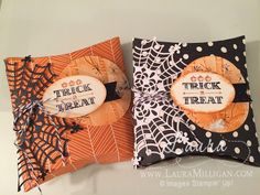 "Laura Milligan, Stampin' Up! Demonstrator - I'd Rather ""Bee"" Stampin!: Halloween Square Pillow Box Treat - SU - A Little Something stamp set"