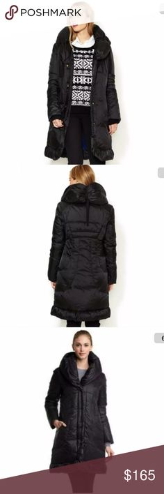 """NWOT Tahari Elissa Pillow Collar Down Puffer Coat PRICE is FIRM!   ELIE TAHARI  """"Elissa""""  Pillow Collar Hooded Down Coat A cozy adjustable-tie collar combines with long, curvy seams to soften the look of a hooded down walking coat subtly shaped with ruching at the hem.  Retail:  $375 Condition:  new without tags Size:  small From Nordstrom Front zip closure with snap placket. Scoop pockets. Polyester lining with down fill. Nylon; machine wash. Approx. length from shoulder: 38"""". Tahari…"""