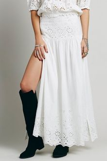High-Waisted Lace Spliced Hollow Out Rufflled Maxi Skirt