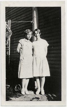 Old Photo 2 Teenage Girls wearing White Dresses by girlcatdesign