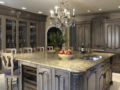 NOT my kitchen. Antique Kitchen Island Ideas With Exclusive Old Antique Gray Marble Carved Cabinets Cupboards Kitchen Dining Design Luxury Chandelier Painting Kitchen Cabinets, Dream Kitchen, Luxury Kitchens, Kitchen Cabinet Styles, Home Kitchens, Kitchen Style, Old World Kitchens, Kitchen Design, Kitchen Paint