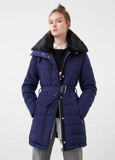 Quilted design Feather and down filling Fur panel Cowl neck Removable belt Long sleeve Zipped pockets Concealed zip and snap button fastening Inner lining Berlin Christmas, Mango Fashion, Fur Collars, Fashion Online, Latest Trends, Cool Outfits, Winter Jackets, Coat, Long Sleeve