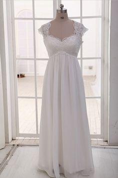 Lace Chiffon Wedding Dress Cap Sleeves Empire Waist by misdress