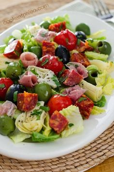 Antipasto salad is an easy no-cook weeknight meal. Gluten-free, dairy-free, and paleo - perfect when you don't want to turn on the stove. game night dinners, busy night dinner quick dinner recipe #recipe #soccer