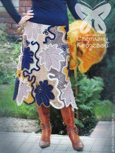 """Купить Авторская юбка """"Мечта"""" (сине-бежевая) - юбка длинная, юбка вязаная, юбка теплая"""
